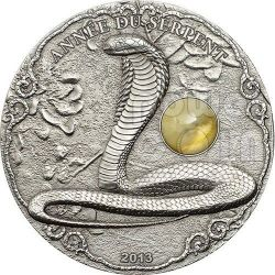 SNAKE AMBER Lunar Year Chinese Zodiac 2 Oz Silber Münze 1500 Francs Togo 2013