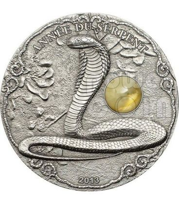 SERPENTE AMBRA Snake Anno Lunare Cinese Moneta Argento 2 Oz 1500 Francs Togo 2013