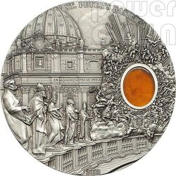ST. PETER BASILICA Rome Mineral Art Amber 2 Oz Moneda Plata 10$ Palau 2013