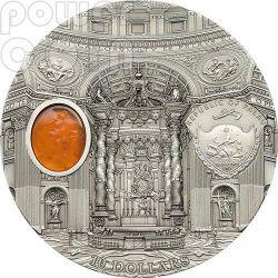SAN PIETRO Basilica St. Peter Roma Mineral Art Ambra Moneta Argento 2 Oz 10$ Palau 2013