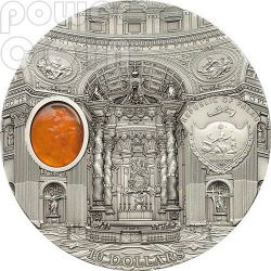 ST. PETER BASILICA Rome Mineral Art Amber 2 Oz Silber Münze 10$ Palau 2013