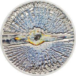 METEORITE CHELYABINSK Russia Moneta Argento 5$ Cook Islands 2013