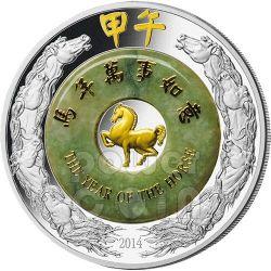 CAVALLO Giada Horse Lunar Year Moneta Argento 2 Oz 2000 Kip Laos 2014