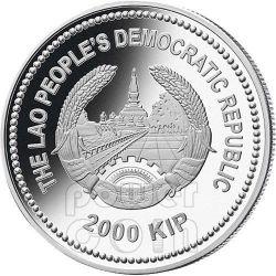 HORSE Jade Lunar Year 2 Oz Moneda Plata 2000 Kip Lao Laos 2014