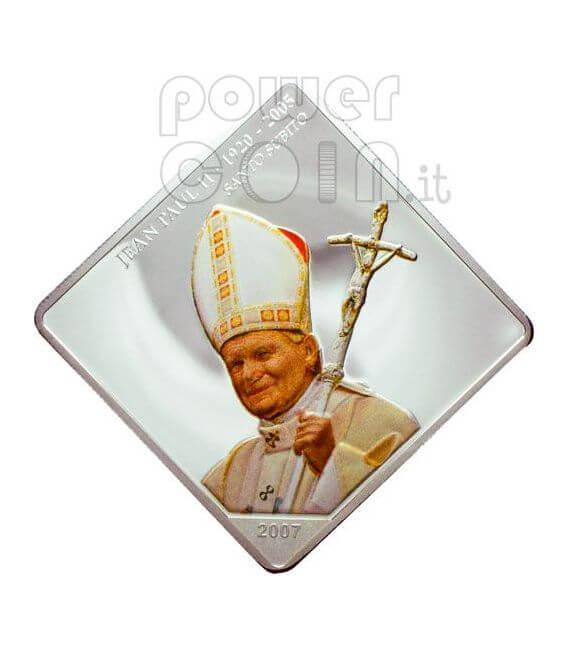 SANTO SUBITO Pope John Paul II Silber Münze 5 Fr Congo 2007
