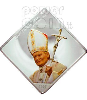 SANTO SUBITO Papa Giovanni Paolo II Moneta Argento 5 Fr Congo 2007