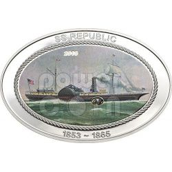 SS REPUBLIC Ship Original Coal Silver Coin 5$ Cook Islands 2013