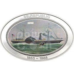 SS REPUBLIC Ship Original Coal Silver Coin 5$ Cook Islands 2013