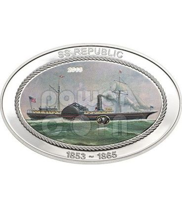 SS REPUBLIC Nave Carbone Moneta Argento 5$ Cook Islands 2013
