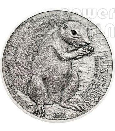 SCOIATTOLO DI TERRA Barbary Ground Squirrel Swarovski Moneta Argento 5$ Palau 2013