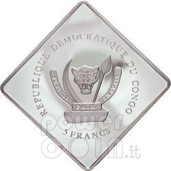 SANTO SUBITO Pope John Paul II Серебро Монета 5 Fr Конго 2007