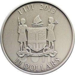 SNAKE GREEN AVENTURINE Quartz Lunar Year Chinese Zodiac 1 Oz Silver Coin 10$ Fiji 2013