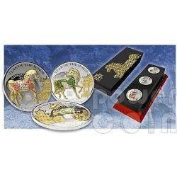 HORSE PAVE 3D Lunar Year 3 Серебро Монета Set 500 Франков Руанда  2014