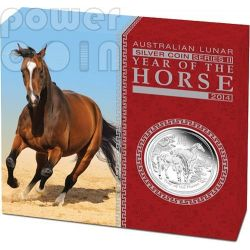 HORSE Lunar Year Series 1 Oz Plata Proof Moneda 1$ Australia 2014
