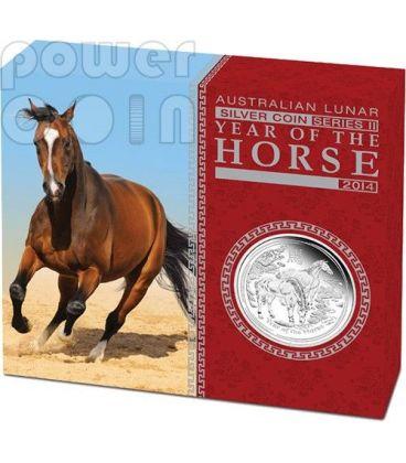 CAVALLO Horse Lunar Serie Moneta Argento Proof 1 Oz 1$ Australia 2014
