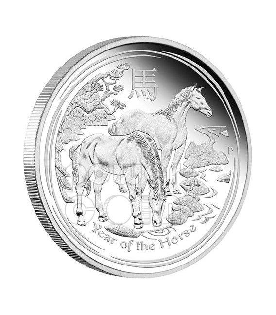 HORSE Lunar Year Series 1 Oz Plata Proof Moneda 1$ Australia 2014
