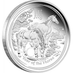 HORSE Lunar Year Series 1 Oz Silber Proof Münze 1$ Australia 2014