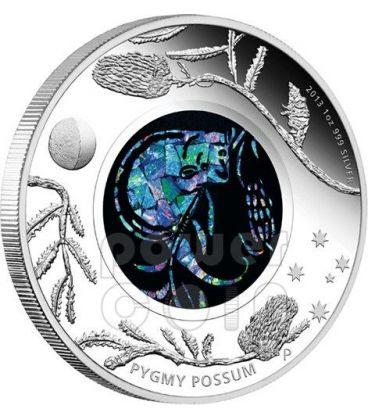 OPOSSUM PIGMEO Opal Serie Pygmy Possum Opale Moneta Argento 1$ Australia 2013