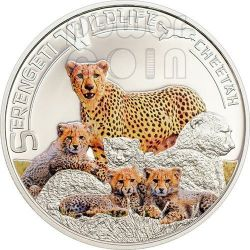 GHEPARDO Cheetah Serengeti Wildlife Moneta Argento 1000 Shillings Tanzania 2013