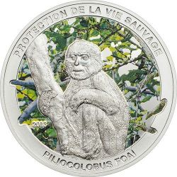 MONKEY Piliocolobus Foai Silver Coin 1000 Francs Central African Republic 2013