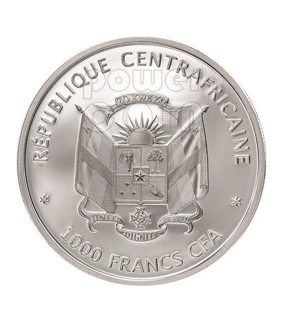COLOMBO ROSSO Monkey Moneta Argento 1000 Franchi Repubblica Centrale Africana 2013