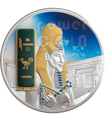AKHENATEN Ekhnaton Egypt God Silver Palladium Gold Heliotrope Gemstone Coin 2 Oz 50$ Fiji 2013
