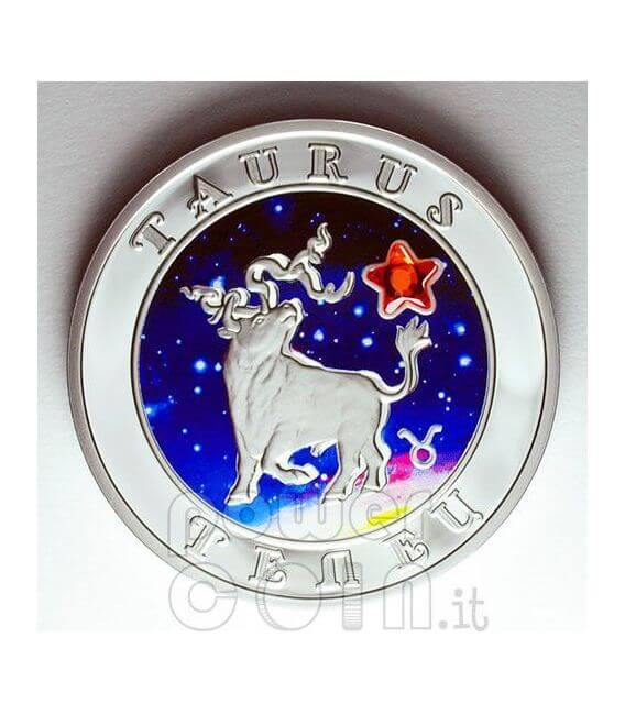 TAURUS Horoscope Zodiac Zircon Silver Coin Armenia 2008