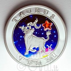 TORO Oroscopo Zodiaco Zircone Moneta Argento Armenia 2008