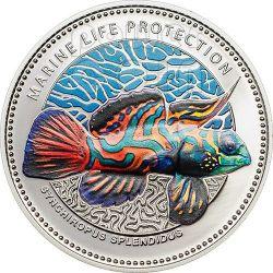 MANDARINFISH Marine Life Protection Coin Silverplated 1$ Palau 2013