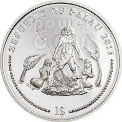 MANDARINFISH Marine Life Protection Монета Silverplated 1$ Палау 2013