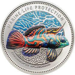 PESCE MANDARINO Mandarinfish Protezione Vita Marina Moneta Argento 5$ Palau 2013