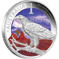 WILLANDRA LAKES REGION World Heritage Sites Sidney ANDA Show Special Moneta Argento 1$ Australia 2013