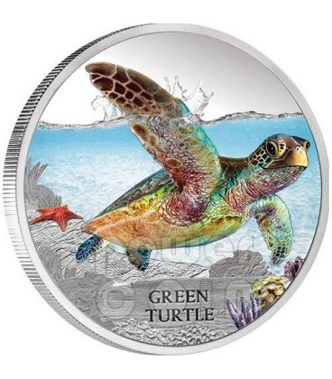 GREEN SEA TURTLE Endangered Extinct Silver Proof Coin 1$ Tuvalu 2014