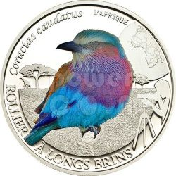 LILAC BREASTED ROLLER Colorful Birds Silver Coin 500 Francs Burkina Faso 2013