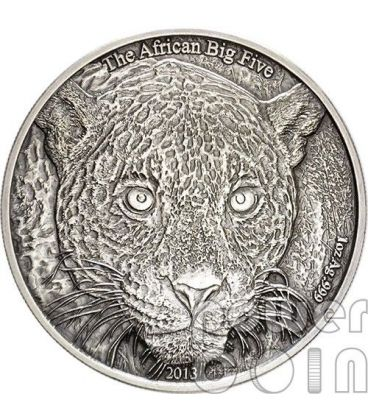 LEOPARDO AFRICANO Leopard African Big Five Moneta Argento 1 Oz 1000 Franchi Camerun 2013