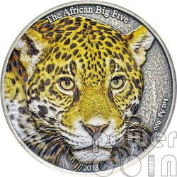 LEOPARDO AFRICANO Colorato Leopard African Big Five Moneta Argento 1 Oz 1000 Franchi Camerun 2013