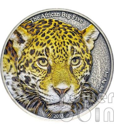 LEOPARDO AFRICANO Colorato Leopard African Big Five Moneta Argento 1 Oz 1000 Franchi Camerun 2013