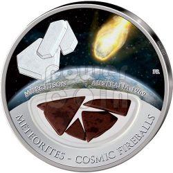METEORITE MURCHISON Cosmic Fireballs Moneta Argento 10$ Fiji 2013