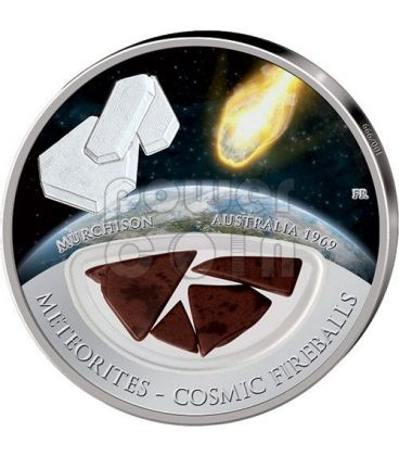 METEORITE MURCHISON Cosmic Fireballs Silver Proof Locket Coin 10$ Fiji 2013