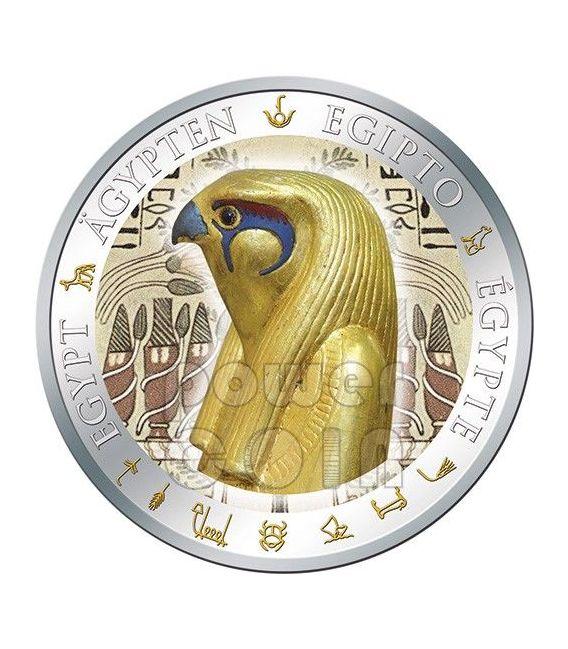 HORUS Dio Falco Dorata Egitto Moneta Argento 1$ Fiji 2012