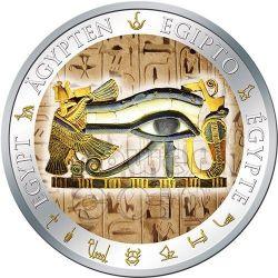HORUS EYE Occhio Di Ra Dorata Egitto Moneta Argento 1$ Fiji 2012