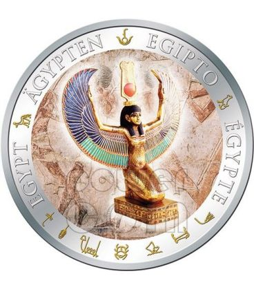 WINGED ISIS Gilded Egypt Silver Coin 1$ Fiji 2012