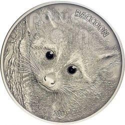 RACCOON Forest Animals Onyx Moneda Plata 1 oz 50 Vatu Vanuatu 2013