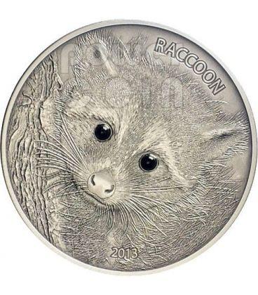 RACCOON Forest Animals Onyx Silver Coin 1 oz 50 Vatu Vanuatu 2013