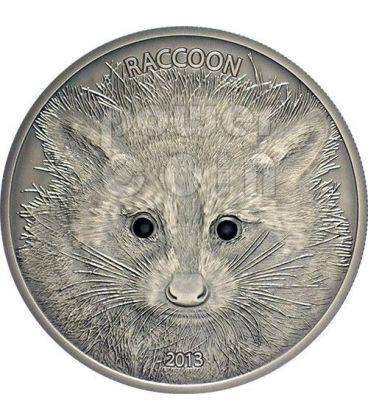 PROCIONE Raccoon Forest Animals Moneta Argento 1/2 oz 20 Vatu Vanuatu 2013