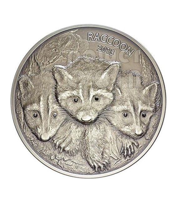 RACCOON Forest Animals Diamonds Silver Coin 2 oz 100 Vatu Vanuatu 2013