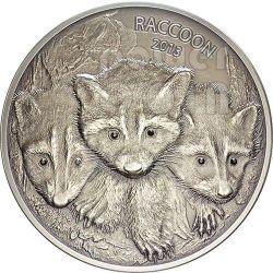 RACCOON Forest Animals Diamonds Серебро Монета 2 oz 100 Вату Вануату 2013