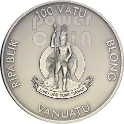 RACCOON Forest Animals Diamonds Moneda Plata 2 oz 100 Vatu Vanuatu 2013