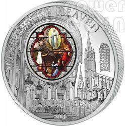 WINDOWS OF HEAVEN LOURDES Moneda Plata 10$ Cook Islands 2013