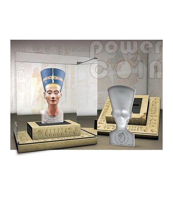 NEFERTITI 3D Sculptures Of Art Regina Egitto Moneta Argento 3oz 25$ Solomon Islands 2013